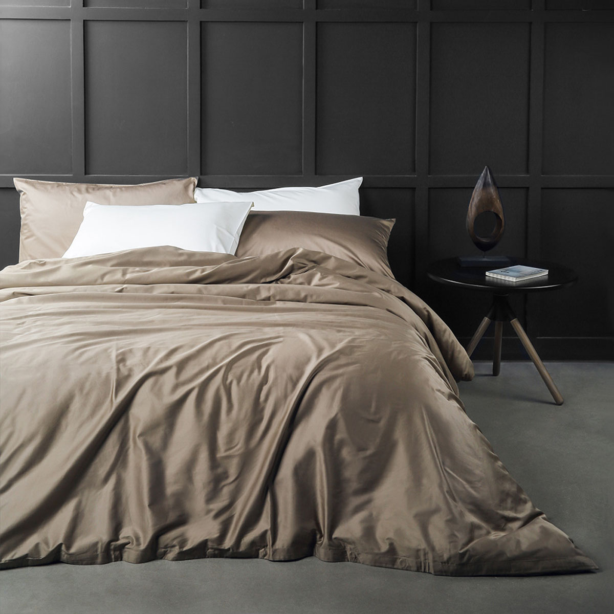100% USA Cotton 3 Piece Duvet Cover Set (Full/Queen, Brown)